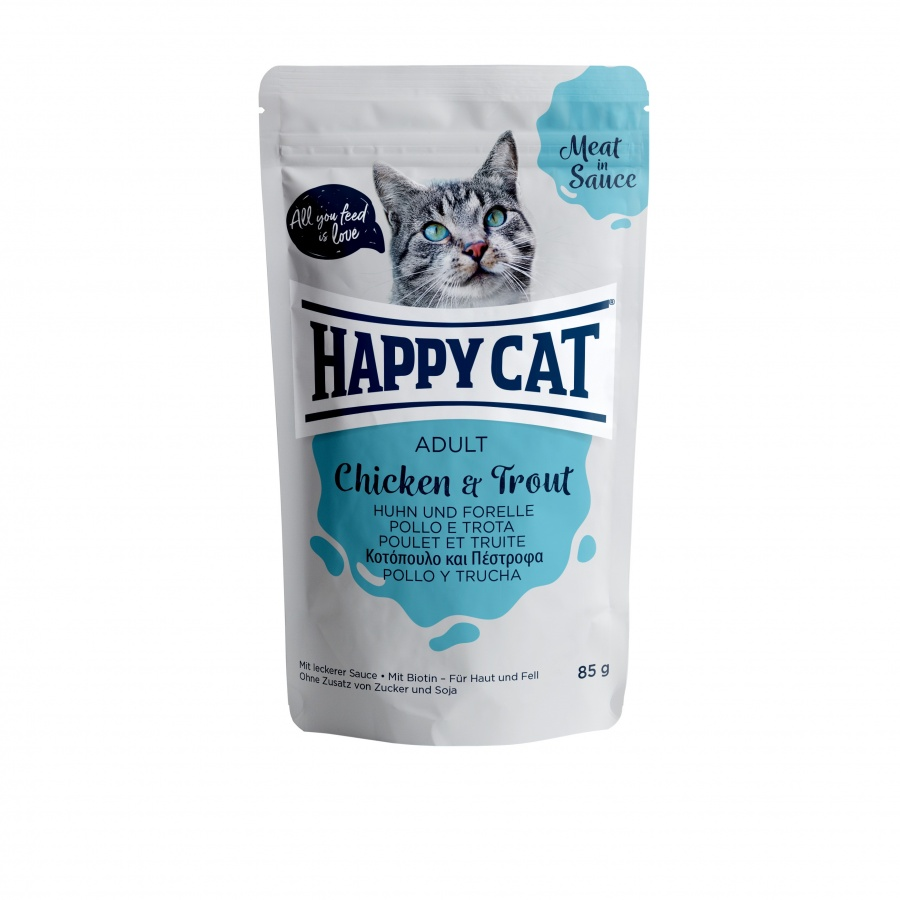 Happy Cat Pouch Adult Huhn & Forelle (Carne en Salsa)