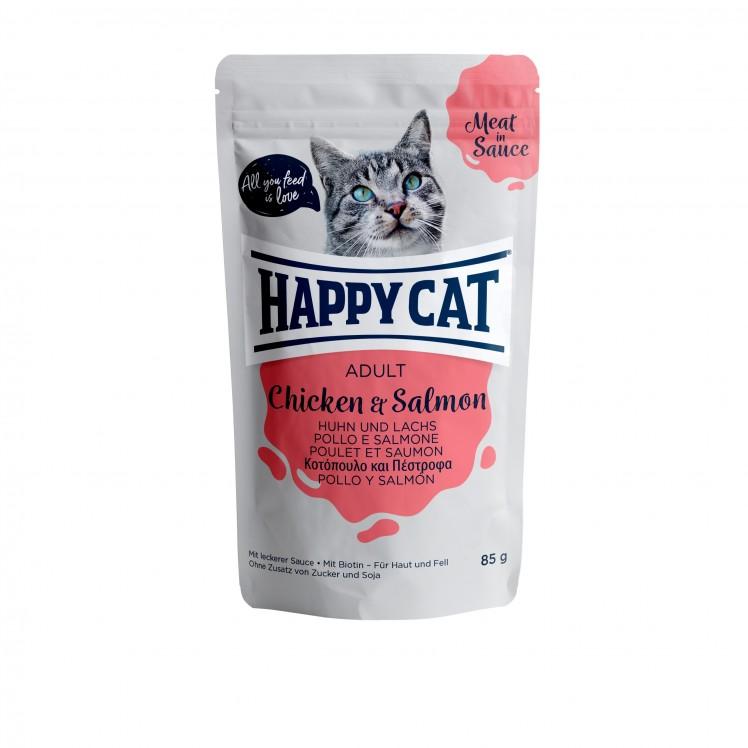 Happy Cat Pouch Adult Huhn & Lachs (Carne en Salsa)
