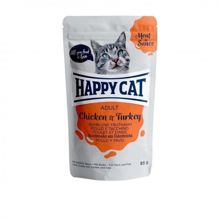 Happy Cat Pouch Adult Huhn & Truthahn (Carne en Salsa)