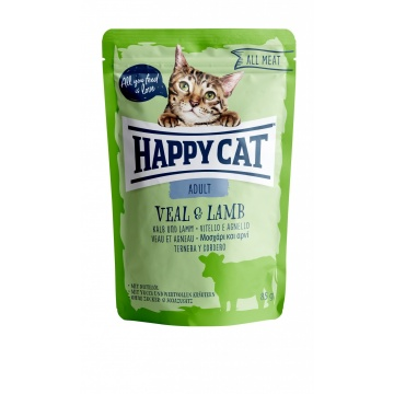 Happy Cat Pouch Adult Kalb & Lamm (100% Carne)