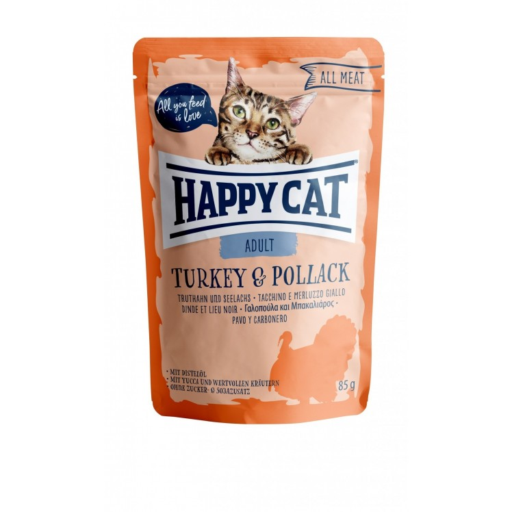 Happy Cat Pouch Adult Truthahn & Seelachs (100% Carne)