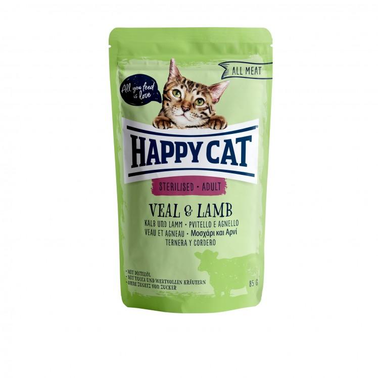 Happy Cat Pouch Sterilised-Adult Kalb & Lamm (100% Carne)