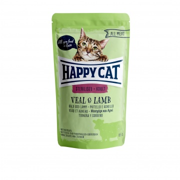 Happy Cat Pouch Sterilised-Adult Kalb & Lamm (100% Carne)