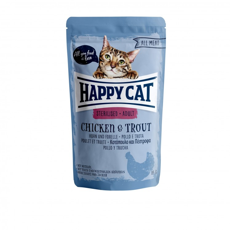 Happy Cat Pouch Sterilised-Adult Huhn & Forelle (100% Carne)